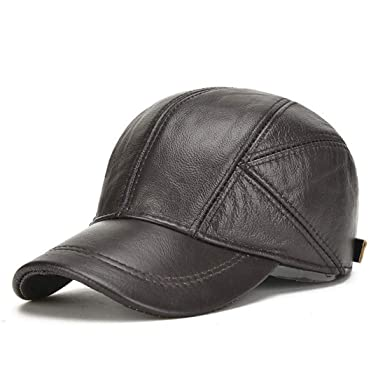 07f1f62a New Men Cowhide hat Autumn and Winter Keep Warm The Elderly Outdoor Protect  The Ear Really
