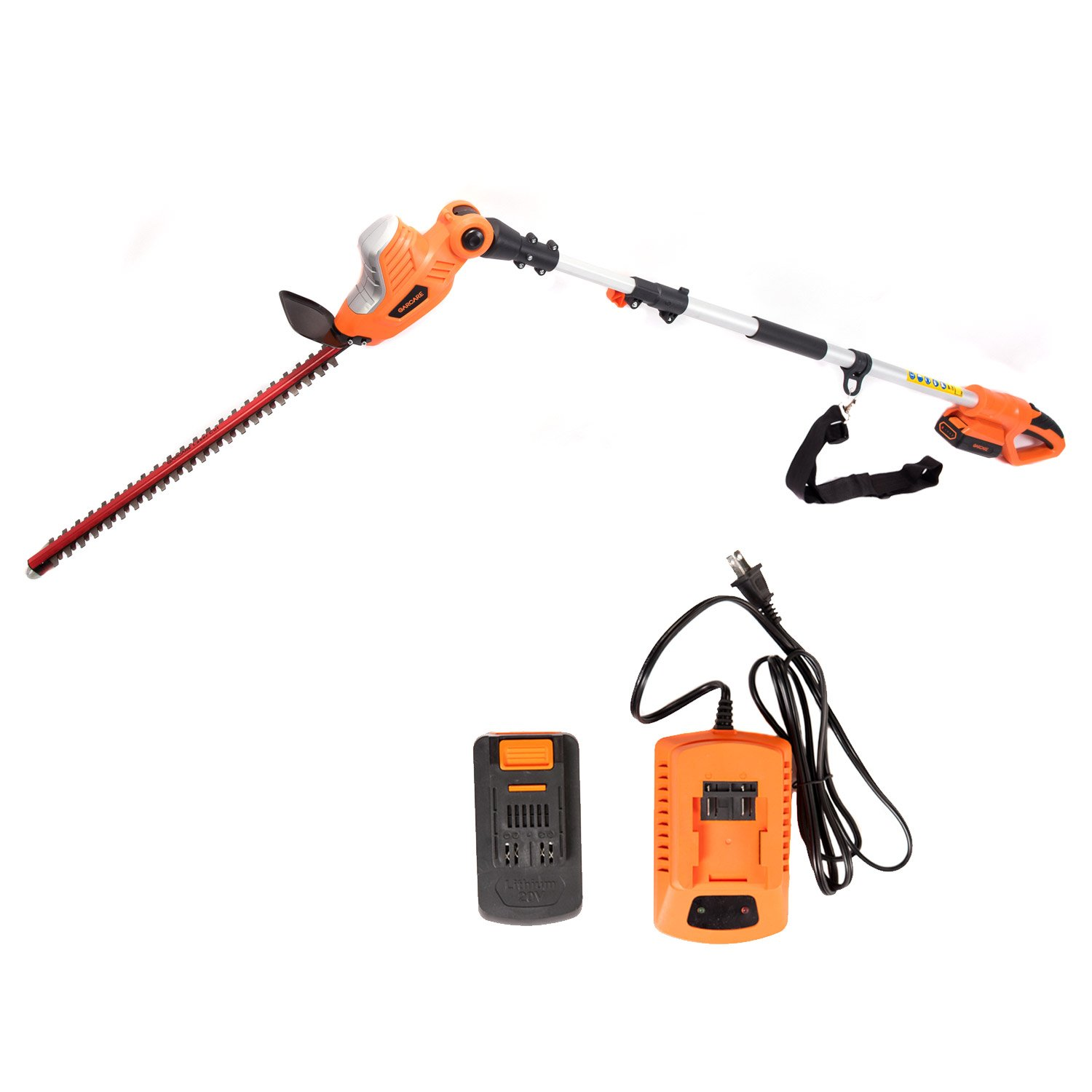 GARCARE 20V Li-ion Cordless Pole Hedge Trimmer with 20-Inch Laser Cutting Blade GCPHT08