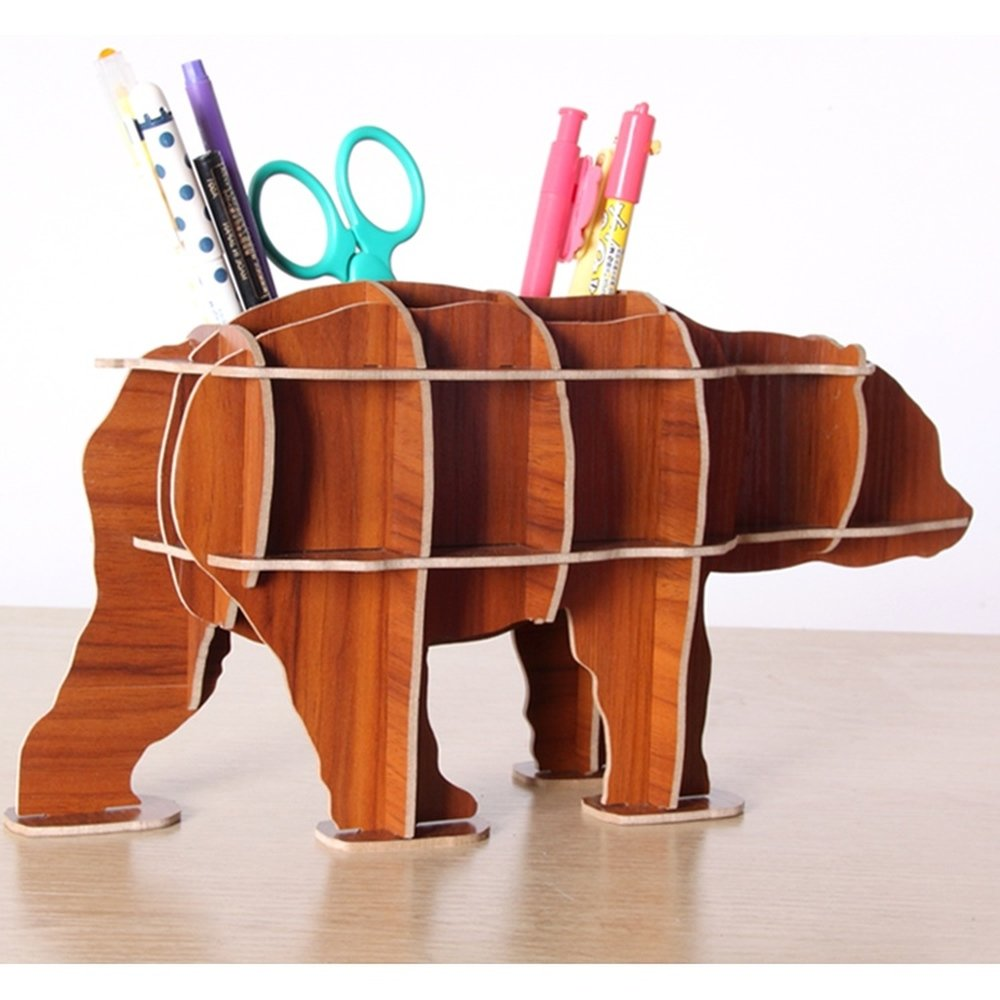 1 PCS Bear pen multifunctional office stationery wood cosmetics book storage box cute creative (Without Pen scissors) AP5141509 (Color : Brown)