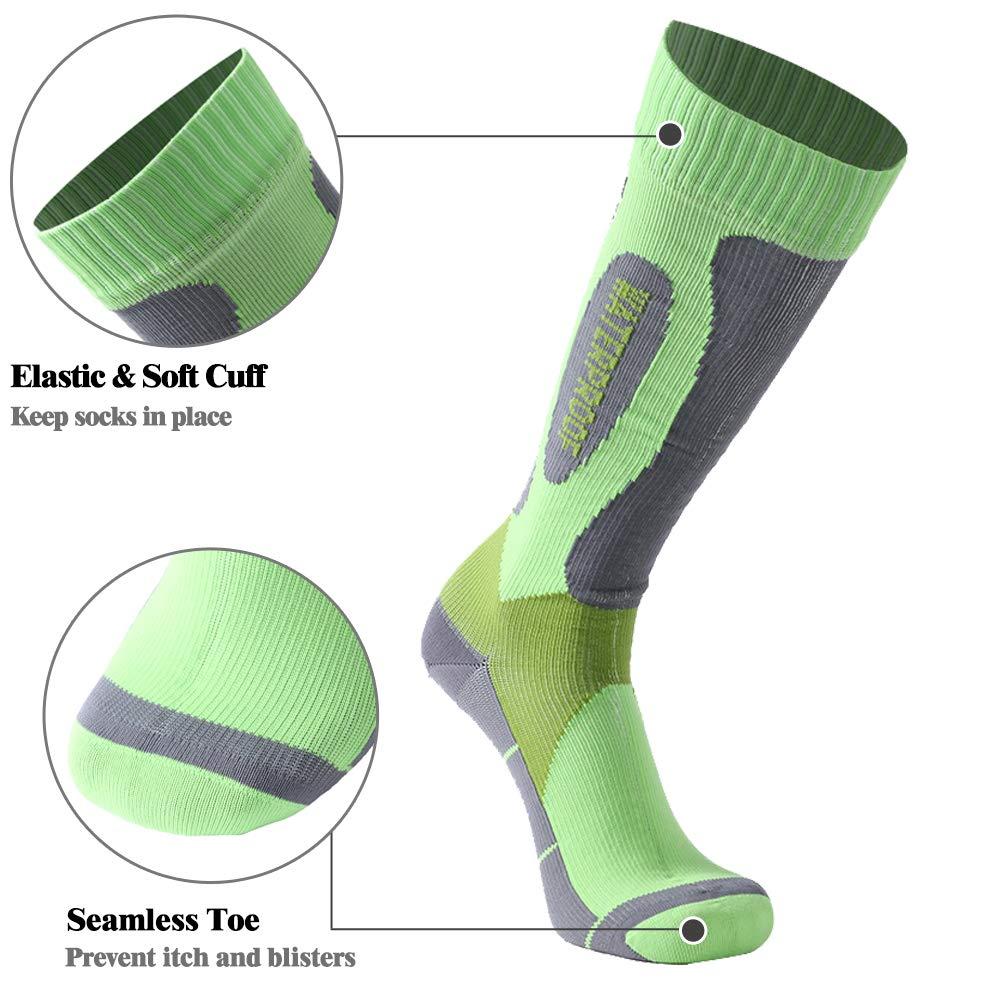 SuMade 100/% Waterproof Breathable Socks Unisex Knee High Skiing Cycling Hiking Climbing Socks 1 Pair