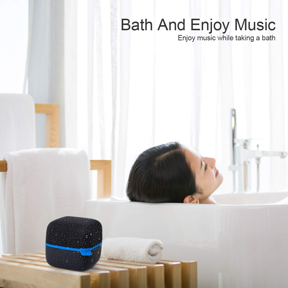 Haobell Waterproof Bluetooth Speakers Mini Wireless Portable Speaker HD Bass Built-in Microphone TF Card Handfree Call AUX Input for Home Outdoor Beach Sport Shower Silicon(Black) by Haobell (Image #5)