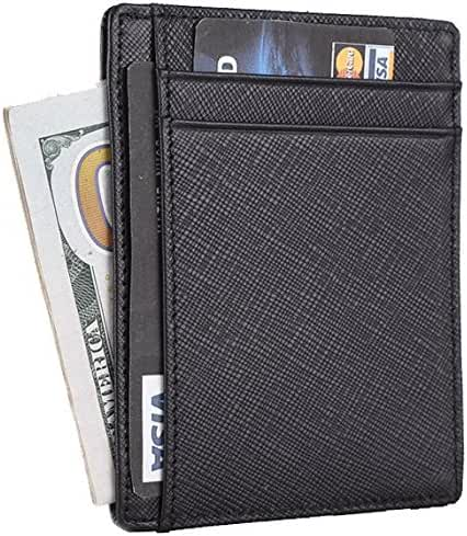 Travelambo RFID Front Pocket Wallet Minimalist Wallet Slim Wallet Genuine Leather