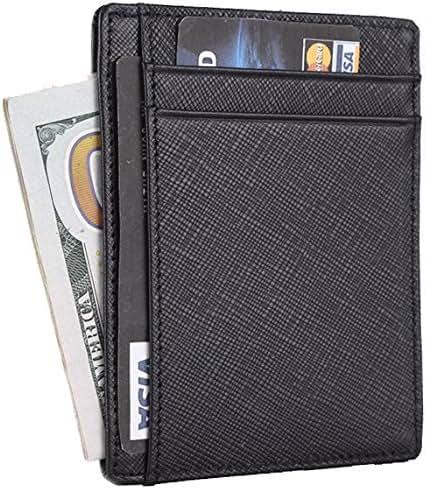Travelambo RFID Front Pocket Wallet Minimalist Wallet Slim Wallet Genuine Leather