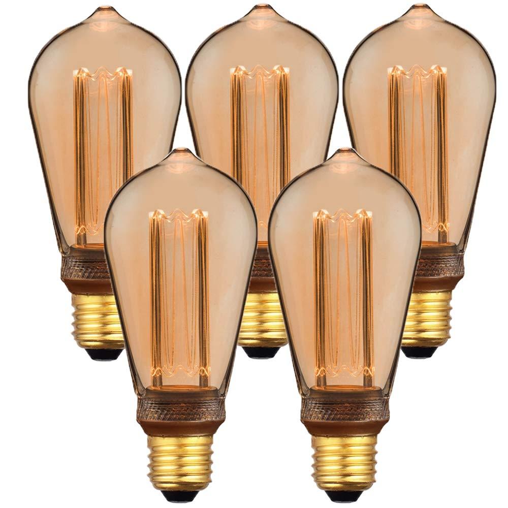 【5個セット】E26 エジソンバルブ LED電球 ノスタルジア (ロングタイプ)×5個セット 電球色 裸電球 エジソン電球 レトロ 照明 B07L4G8F8R ロングタイプ 5個セット