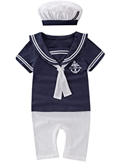 12a2b4caf May's Baby Boy Toddler Sailor Marine Short Sleeve Romper +Hat 2pcs Outfit  Set