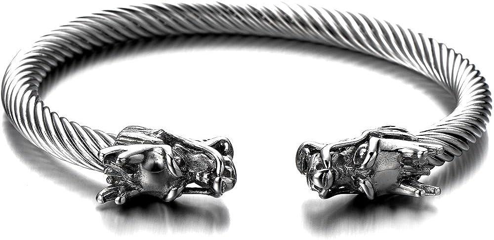 COOLSTEELANDBEYOND Elastic Adjustable Mens Dragon Bracelet Steel Twisted Cable Bangle Cuff Bracelet Polished
