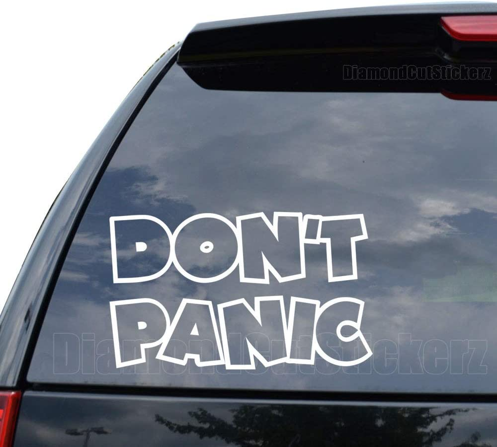 Don't Panic Hitchhikers Guide Decal Sticker Car Truck Motorcycle Window Ipad Laptop Wall Decor - Size (09 inch / 23 cm Wide) - Color (Matte White)