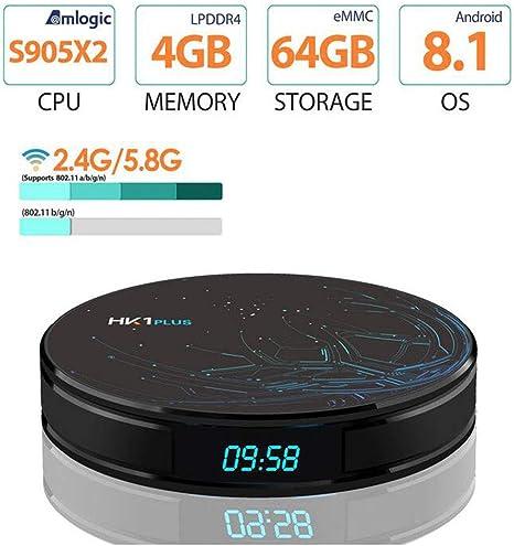 LOISK Android 8.1 TV Box Smart Box / 4GB + 64GB / HK1 Plus con Amlogic S905X2 Quad-