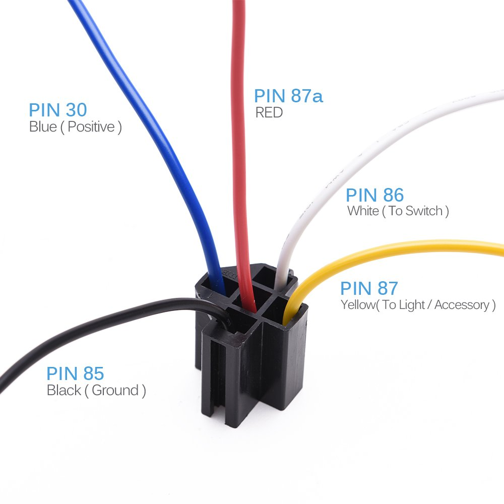Mictuning 12v 30 40 Amp 5pin Spdt Automotive Relay With Wiring Harness Gets Hot Wires Socket Pack Of 5