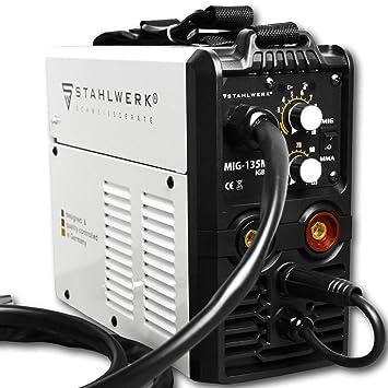 STAHLWERK MIG 135 M IGBT - Equipo de soldadura MIG MAG con 135 amperios, alambre de relleno FLUX, con MMA E-Hand, color blanco: Amazon.es: Bricolaje y ...