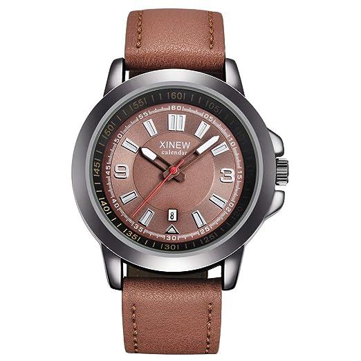 Hombres de la Marca Relojes Deportivos Reloj de Cuarzo para Hombre Hombre Ejército Reloj de Pulsera Militar de Cuero Javpoo: Amazon.es: Relojes