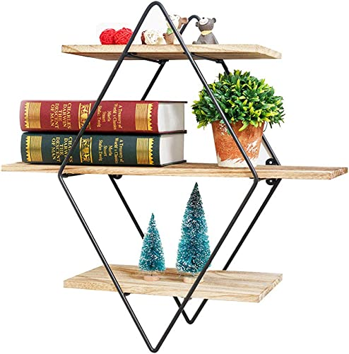 Salafey Geometric Shelves Floating Shelves,3-Tier Diamond Wall Shelf,Rustic Wooden Metal Vintage Decorative Shelf for Farmhouse D cor Living Room,Kitchen,Bedroom