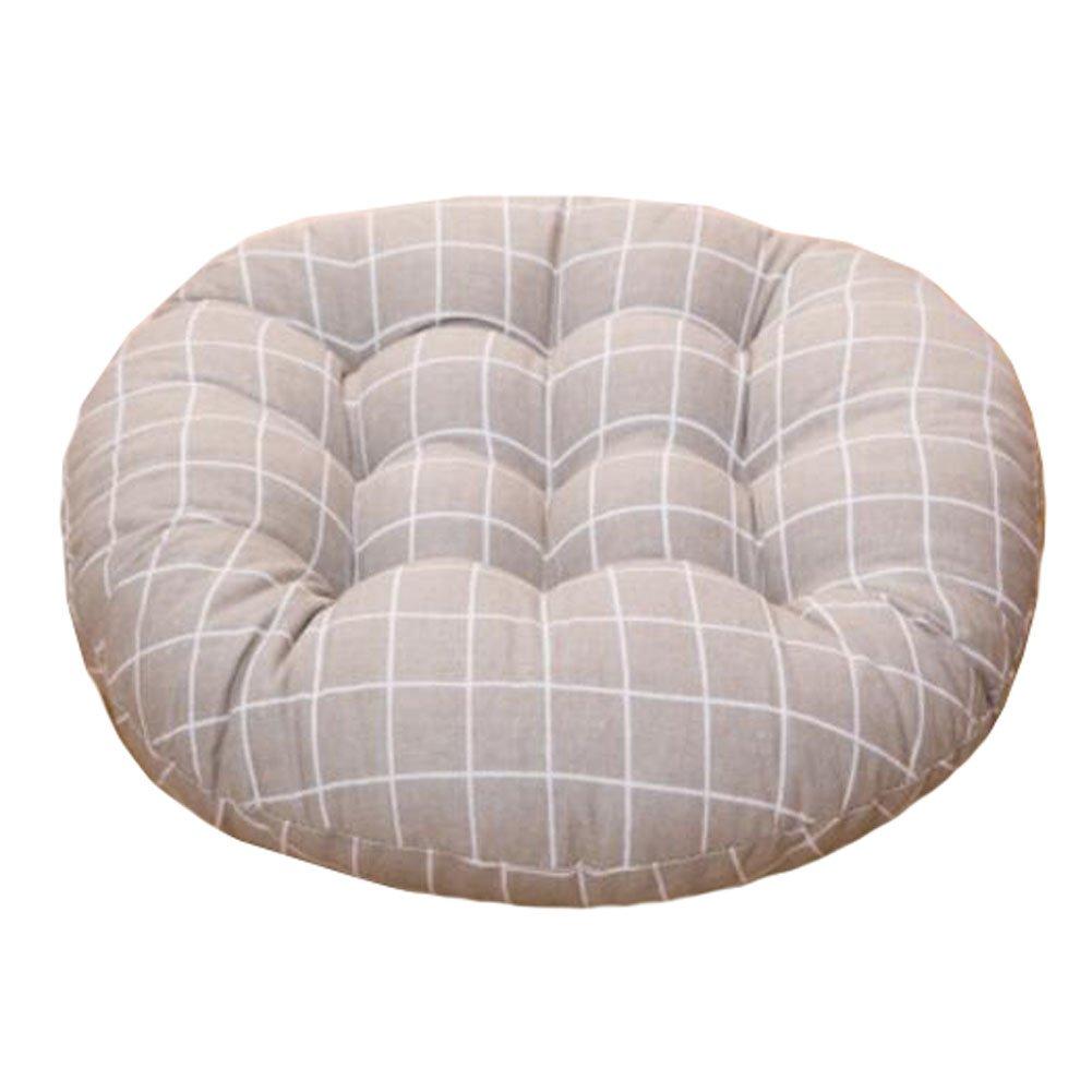 快適なホーム装飾リネンラウンドチェアクッションシートクッション椅子パッド床クッション、# A B075CGG65B