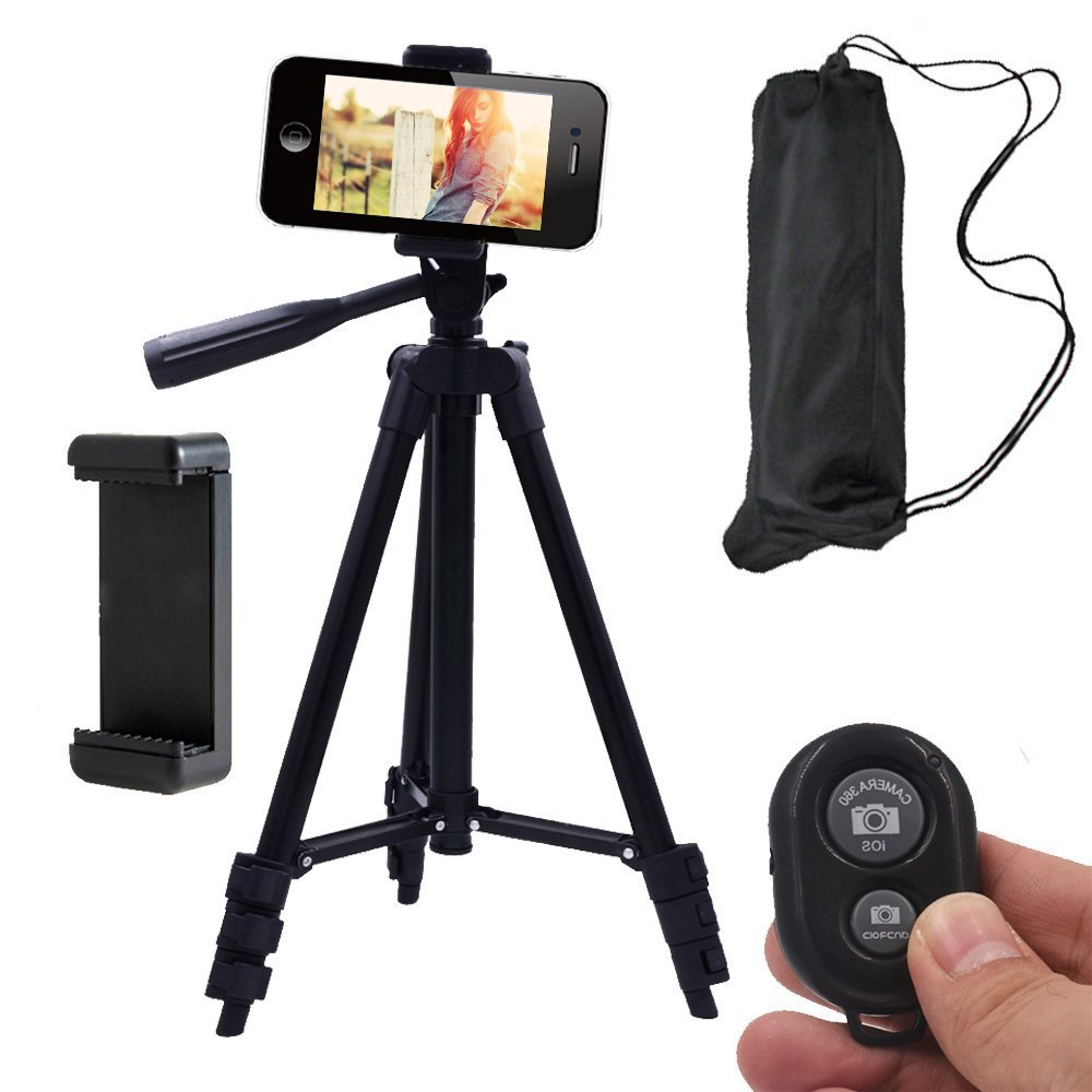 Conzy Aluminum Phone Tripod,Travel Portable Adjustable iPhone Tripod Mount for Camera/Android Phone/Gopros - Wireless Bluetooth Remote Control Monopod with feet and Carrying Bag (Black)