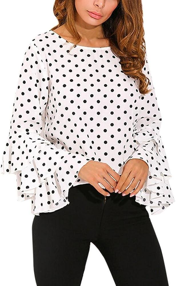 RETUROM Blusa de Invierno, Camisas de Lunares de Mangas Campana de Moda para Mujer (S, Blanco): Amazon.es: Ropa y accesorios