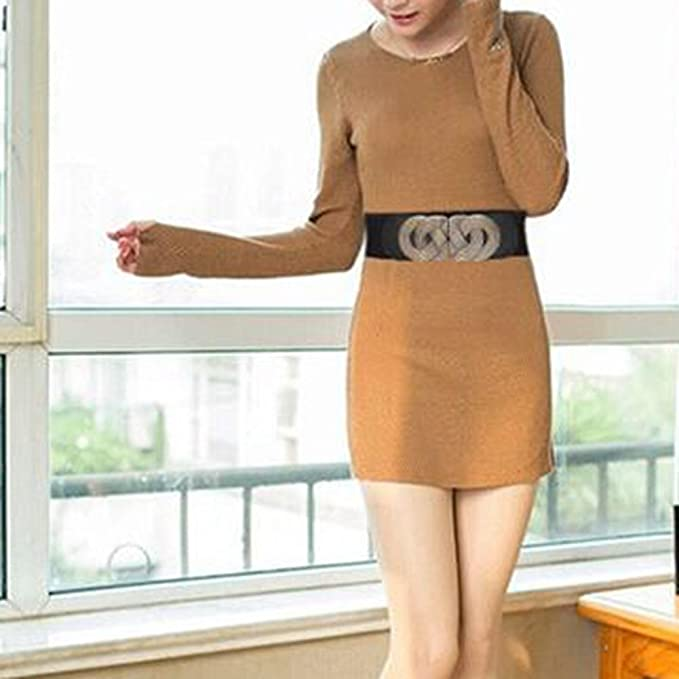 iShine Ceinture Femme Fille Elastique Extensible avec Boucle Rétro en Motifs  Classique Echarpe Dames Cuir Artificiel Mode Féminine Large Tissé  Accessoire ... a62606f6369