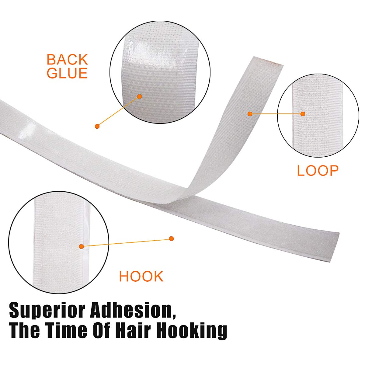 3//4 INCH, White Jackwood 36 Feet Self Adhesive Hook and Loop Tape Roll Sticky Back Strip Adhesive Backed Fabric Fastener Mounting Tape for Picture and Tools Hanging Pedal Board Fastening