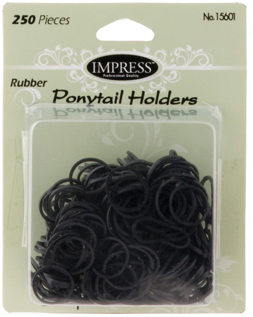 Impress 250-piece Black Rubber Ponytail Holders (144-ct case) 144 pcs sku# 1870446MA