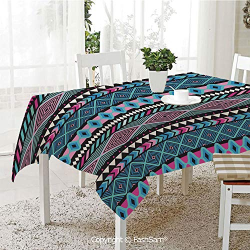 AmaUncle 3D Dinner Print Tablecloths Vector Vintage Ethnic with Boho Stripes and Shape Image Print Table Protectors for Family Dinners (W55 xL72) ()