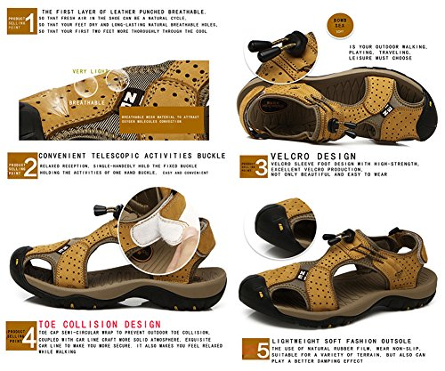 Sandali Open Casual Uomo Pelle Traspirante Outdoor Toe Antiscivolo Sandali Baotou da Blu Maesty in Cqzgwwd