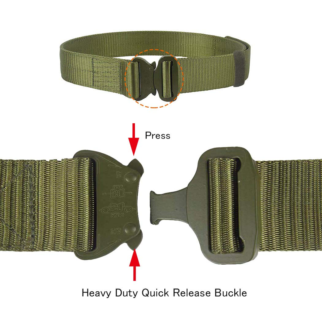 OLEADER Tactical Belts Military Webbing Riggers Belt Adjustable Heavy-Duty Quick-Release Buckle for Men Women,Green//S