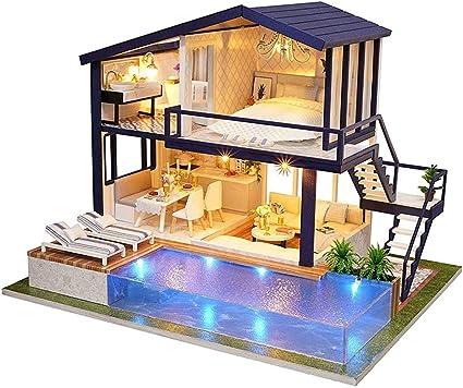 2x casa de muñecas en miniatura de la casa Escobas