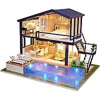 DIY Doll House Toy, Birthday Gift,DIY Miniature Dollhouse Furniture Swimming Pool Building Villa Model Kids Toy