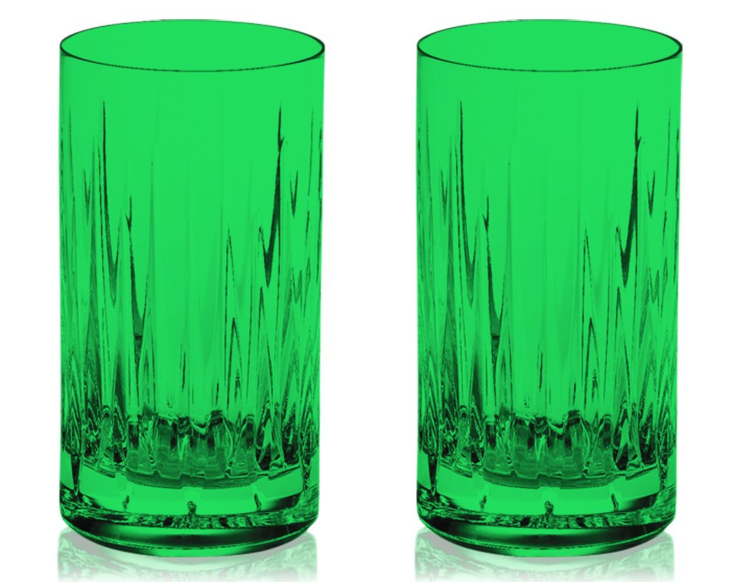 Christmas Tablescape Décor - Emerald green Reed & Barton crystal soho highball glasses - Set of 2