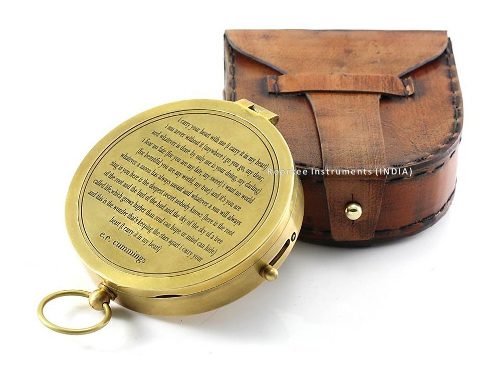 Hiking Valentines Gift idea Vintage Brass Compass with Handmade Leather Case//E.E Touring Roorkee Instruments India RIITU0010 Cummings Directional Magnetic Compass for Navigation//Push Button Pocket Compass for Camping