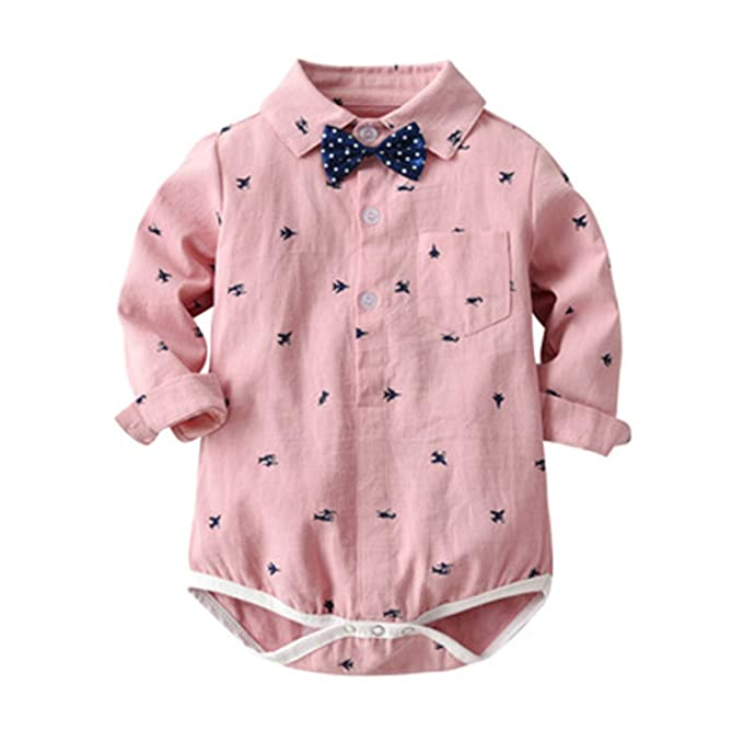 4741cc331 Image Unavailable. Image not available for. Color: Baby Boys Clothing Set  Gentleman Long Sleeve Print Rompers Shirt+Jeans 2PCS Outfits Newborn Boys