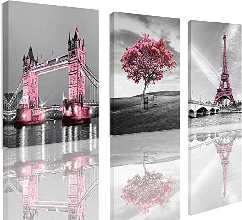 Amazon Com Decor For Bedroom Girls Pink Paris Theme Room Wall Art Canvas Black And White Eiffel Tower Pictures Decorations Painting Framed 12 X16 X3panles Posters Prints