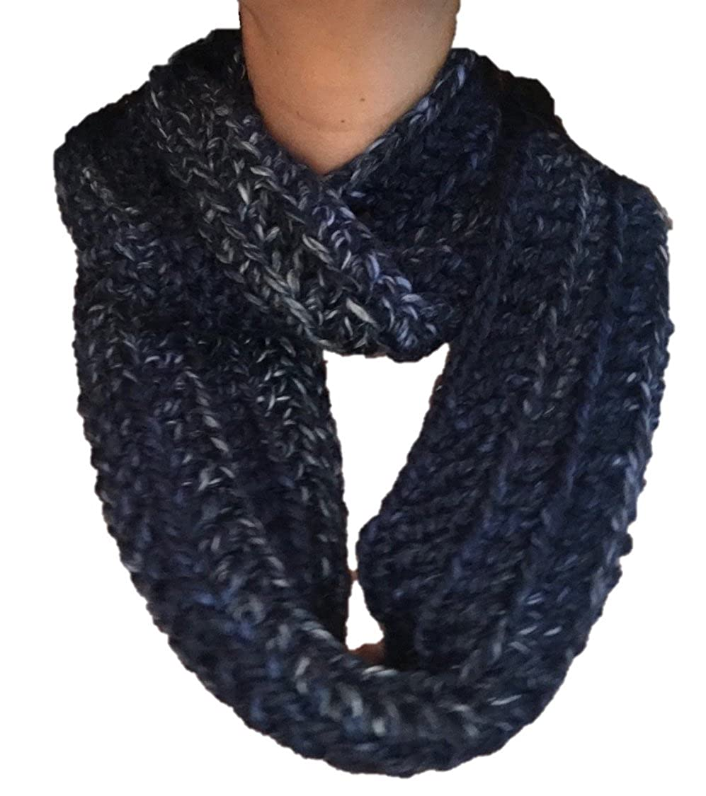 Navy bluee, White and Light bluee Handmade Crochet Infinite Scarf