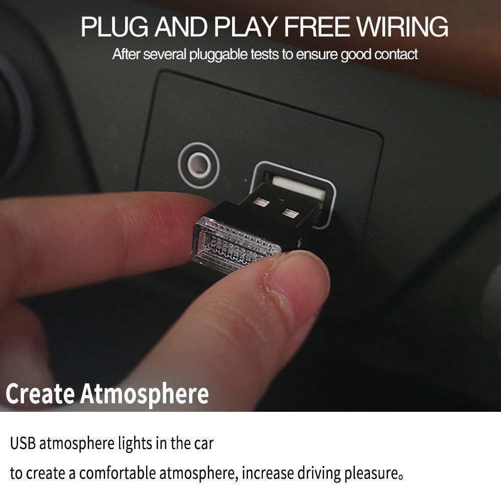 Auto LED-Atmosph/ärenlichter 5-teiliges USB-Beleuchtungs-Atmosph/ärenlicht-Set Innendekoration f/ür Auto 5 Farben, Rot//Blau//Pink//Wei/ß//Eisblau