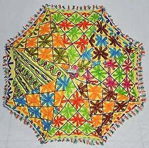 Embroidered Umbrella Design Handmade Indian Cotton Summer Sun Parasol 24 X 28 Inches