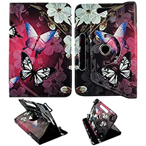 """White Flower Butterfly (Am) For Asus ME707 Inch Universal 7"""" Tablet Syn Leather Case Cover 360 Rotating Folding Folio Stand Cover Case"""