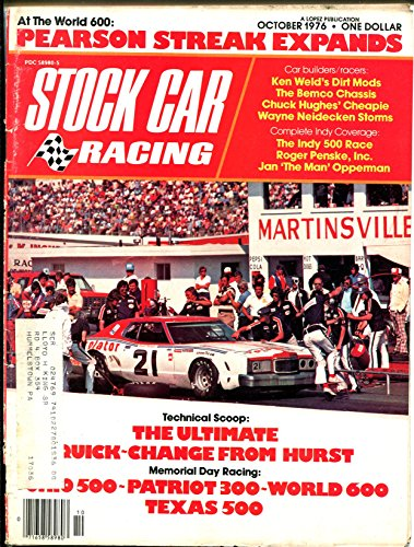 Stock Car Racing 10/1976-Indy 500-David Pearson-Janet Guthrie-Marty Robbins-VG