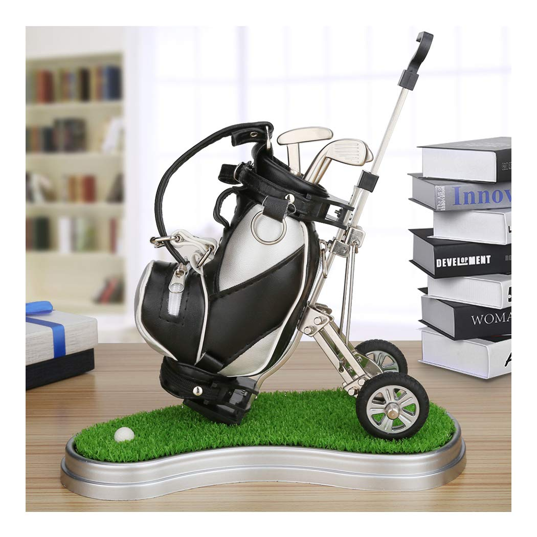 10L0L Mini Desktop Golf Bag Pen Holder with Lawn Base and Golf pens 5-Piece Set of Golf Souvenir Tour Souvenir Novelty Gift (Silver and Black)