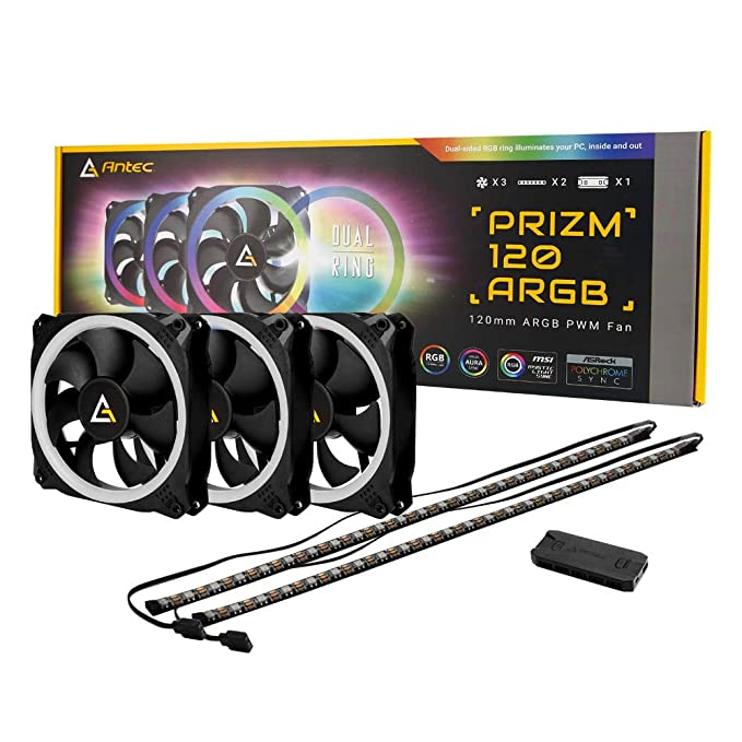 Antec Prizm 120mm RGB Case Fan Radiator - 3 Pack and 2 RGB Strips CPU Fans at amazon