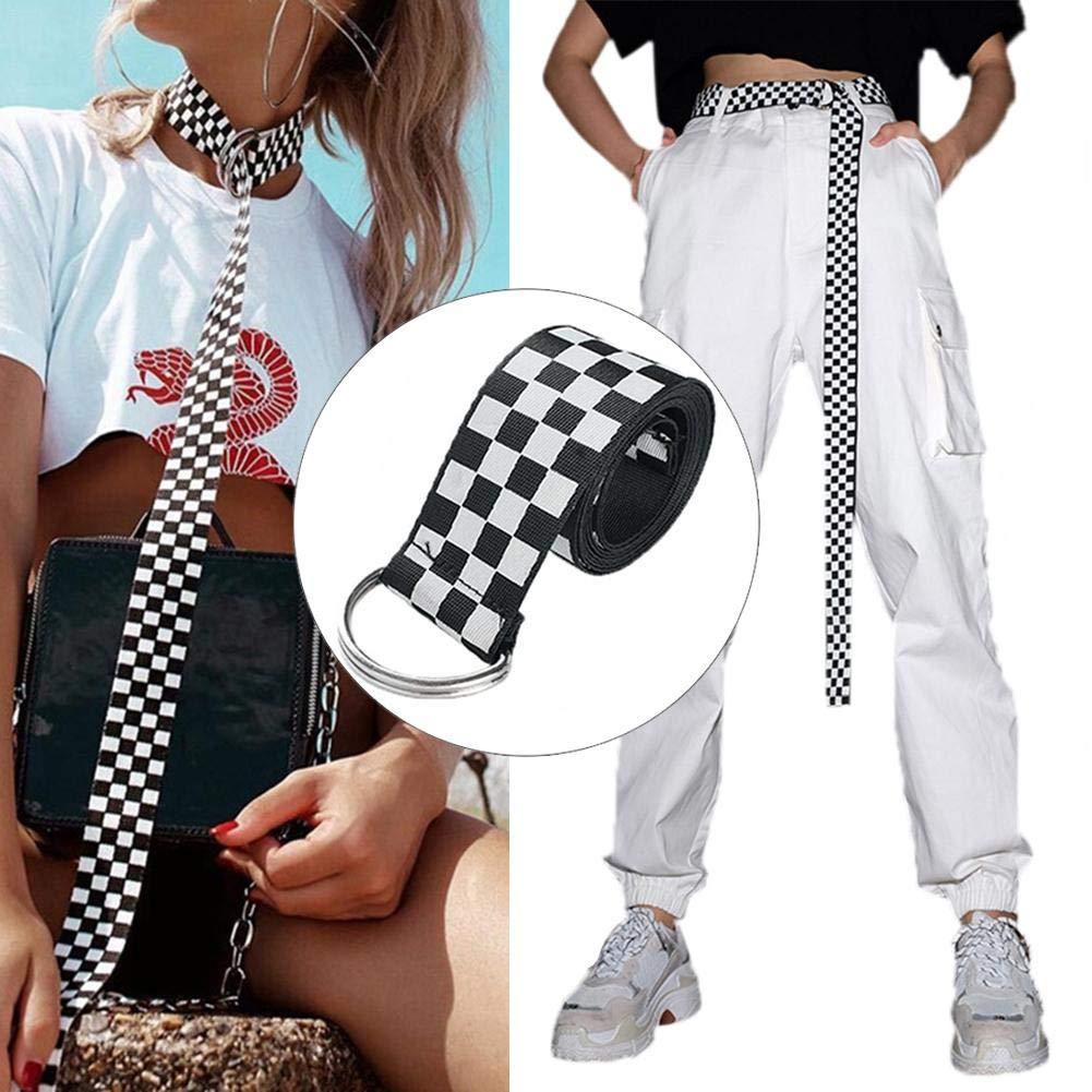 Regalos de Navidad Cintur/ón a cuadros Lona Web Doble D Anillo Cintur/ón a cuadros Lienzo Cinturones para mujeres Hombres Adolescentes 130 CM