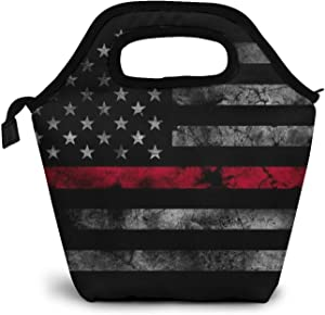 American Thin Red Line Flag Insulated Lunch Bag Cooler Thermal Tote Handbag Reusable Lunch Box Food Container Warm Pouch For School Work Picnic