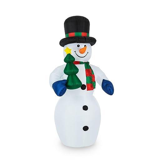 oneConcept Mr. Frost - muñeco de nieve , decoración navideña , iluminación navideña , decoración de jardín , interior y exterior , inflable , ...
