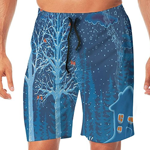 Haixia Man Casual Swimming Trunks Travel Hand Drawn Famous Tourist Places Big