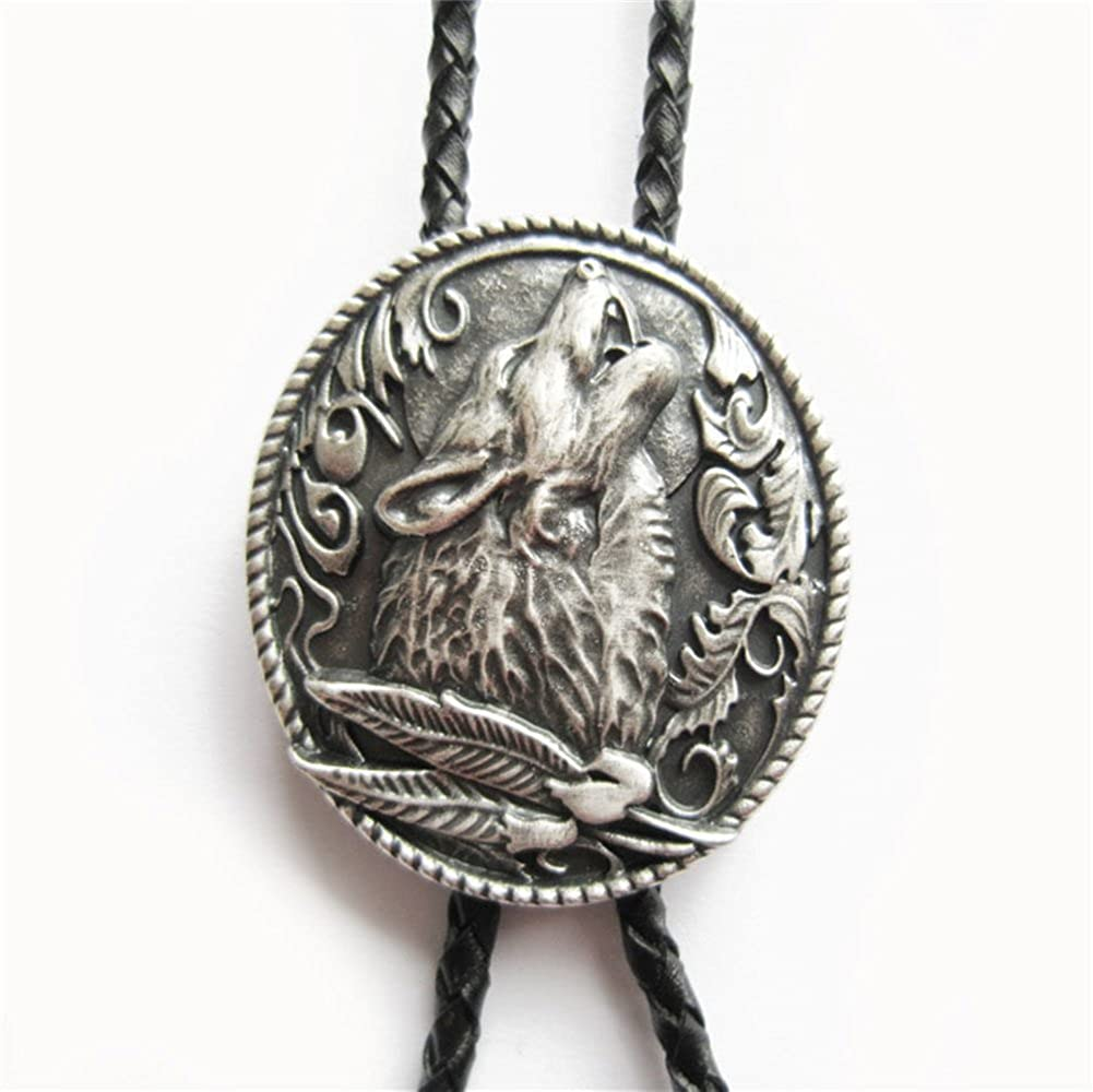 Vintage Silver Plating Western Wolf Wedding Oval Bolo Tie also Stock in US