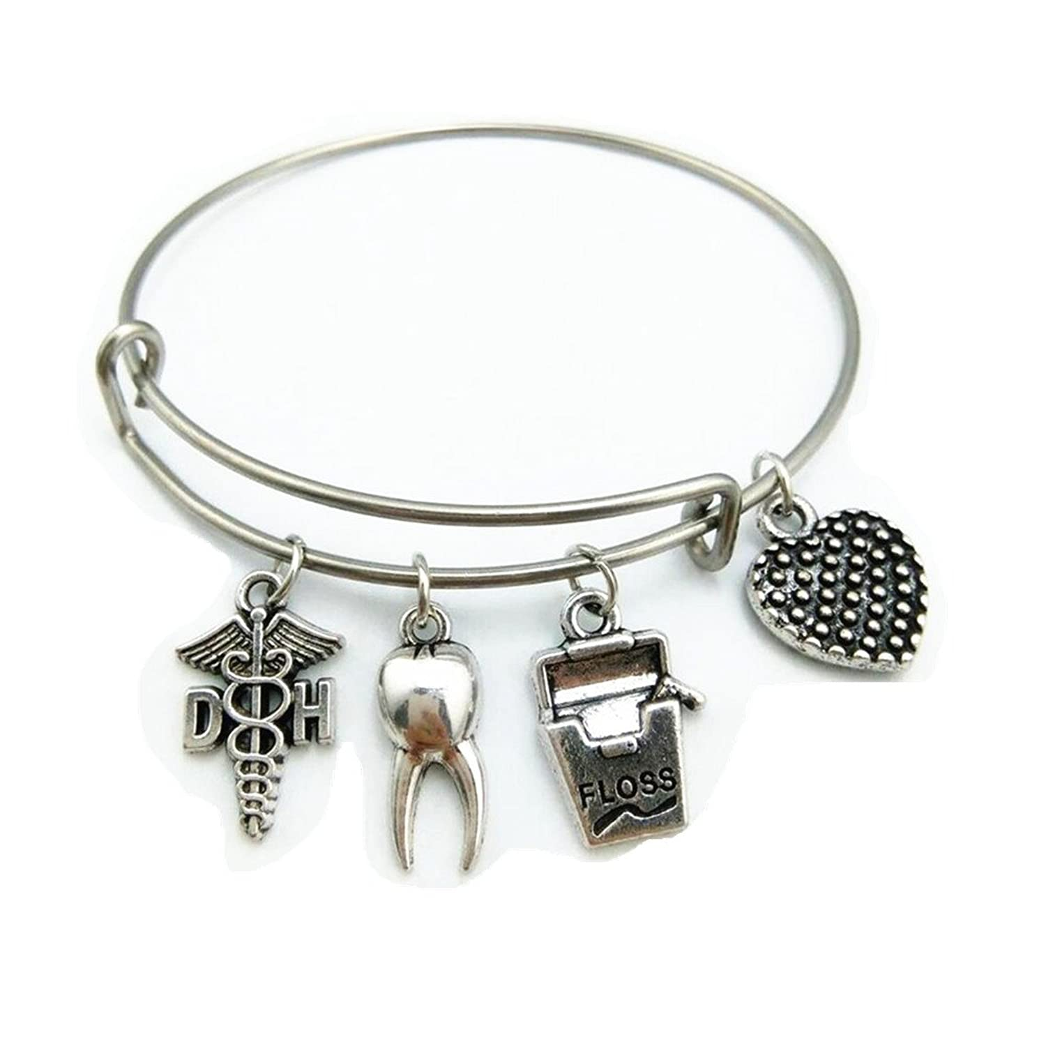 Stainless Steel Adjustable Wire Bangle DH Dental Hygienist Caduceus Charm Medical Bracelet Graduation Jewelry Gifts