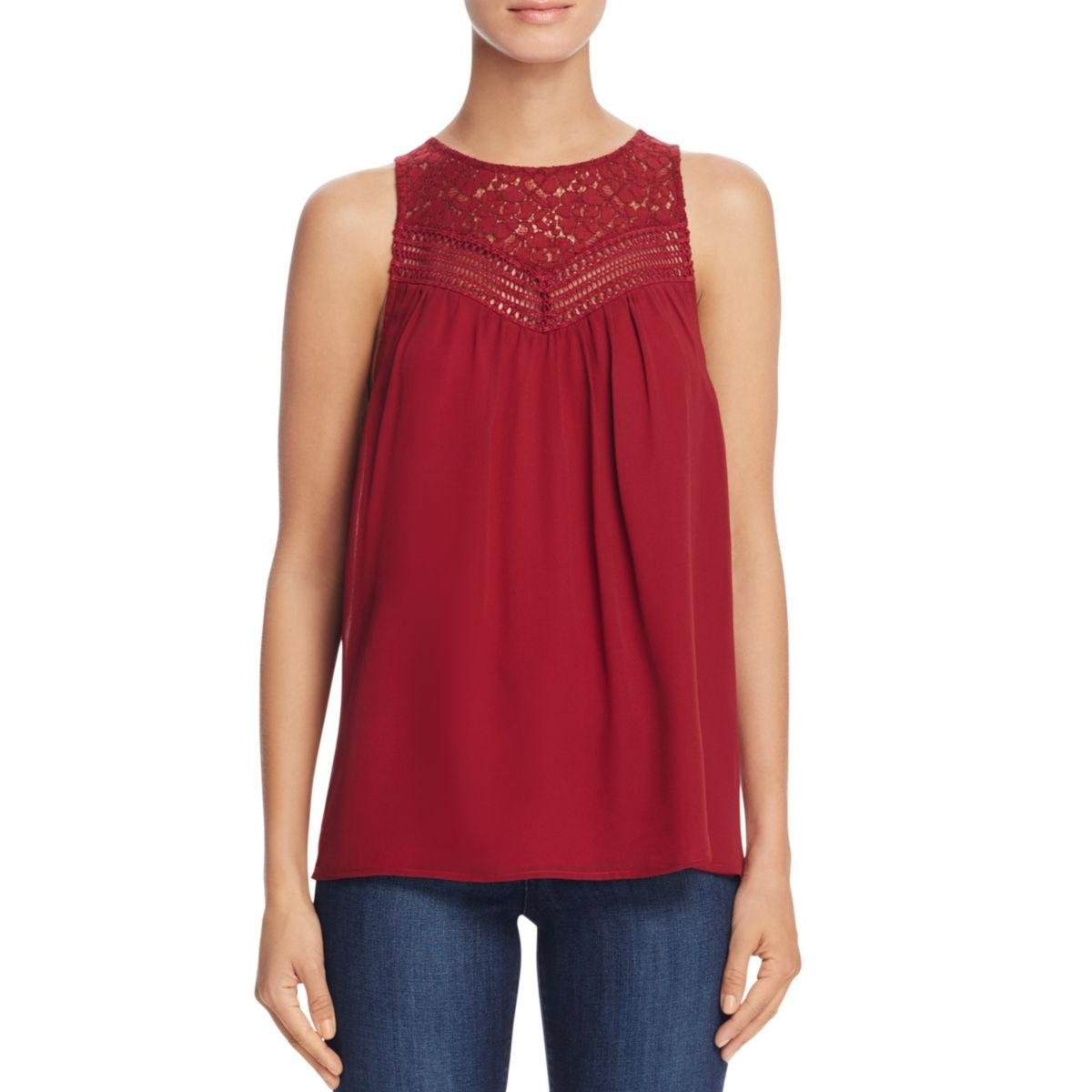 Joie Womens Crochet-Trim Lace-Trim Casual Top Red XXS
