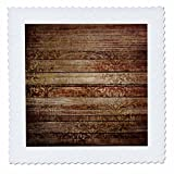 3dRose Anne Marie Baugh - Patterns - Rustic Brown Faux Printed Wood with A Faux Gold Damask Overlay - 22x22 inch Quilt Square (qs_283341_9)