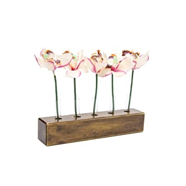 WOOD MEETS COLOR Table Vase Set, Home Decor Display with tubes and Artificial Flowers