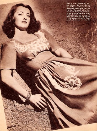 1941 Young and Pretty Bette Davis Clothing Models 2 Dress Outfits in Sepia Tone Pictures