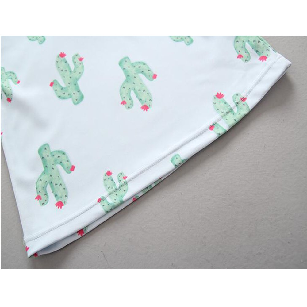 for Kids Baby Girls 3pcs Cactus Swimsuit UV Sun Protective Long Sleeve Bathing Suit Rash Guards UPF 50