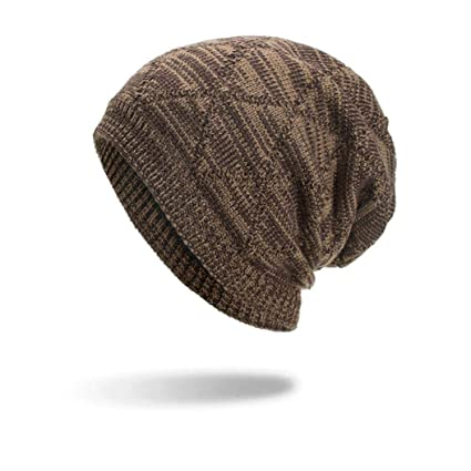 9a12f668d9fba Image Unavailable. Image not available for. Color  SUKEQ Unisex Geometric Beanie  Hat Thick Winter Warm Knitted Skull Cap Oversized Slouchy Baggy Ski Hat